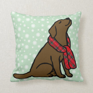 Chocolate Labrador Tartan Scarf 2 Throw Pillow
