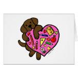 Chocolate Labrador & Teacher's Heart Cartoon Greeting Cards