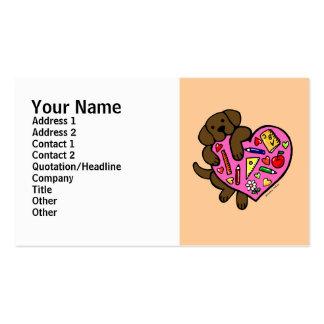 Chocolate Labrador & Teacher's Heart Cartoon Double-Sided Standard Business Cards (Pack Of 100)