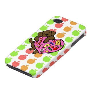 Chocolate Labrador & Teacher's Heart Cartoon iPhone 4 Case
