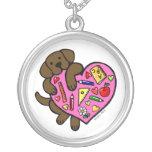 Chocolate Labrador & Teacher's Heart Cartoon Personalized Necklace