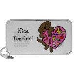 Chocolate Labrador & Teacher's Heart Cartoon Portable Speakers