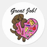 Chocolate Labrador & Teacher's Heart Cartoon Round Stickers