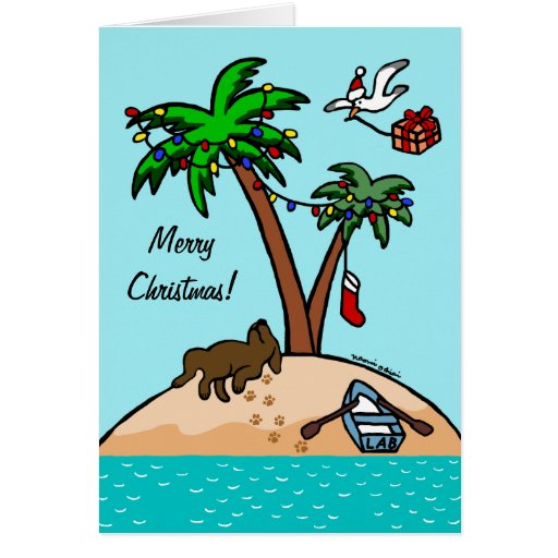 Chocolate Labrador Tropical Christmas Card