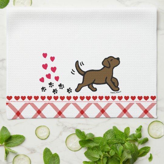 Chocolate Labrador Trotting Kitchen Towel