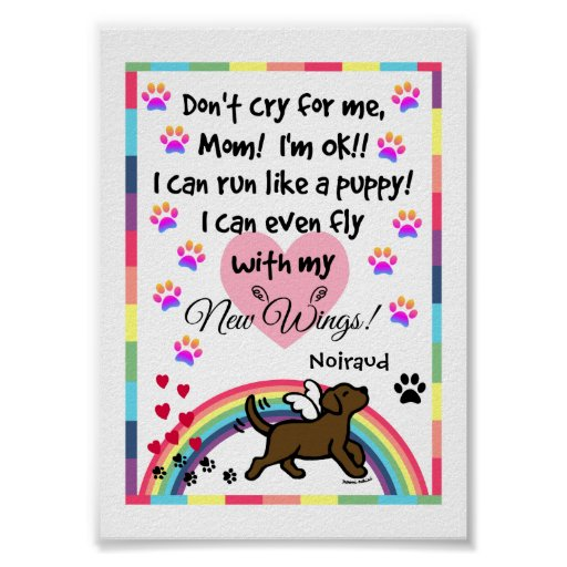 Chocolate Labrador Trotting Memorial Print