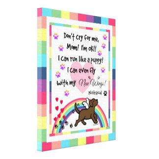 Chocolate Labrador Trotting Rainbow Bridge art Canvas Print