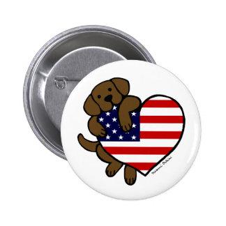 Chocolate Labrador & US Flag Heart 2 Cartoon Button