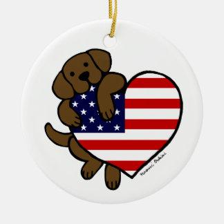Chocolate Labrador & US Flag Heart 2 Cartoon Ceramic Ornament