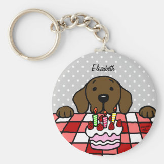 Chocolate Labrador watching you Birthday Keychains