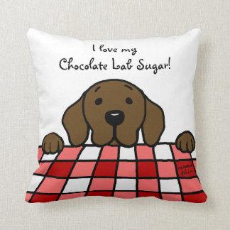 Chocolate Labrador watching you Kitchen Throw Pillow
