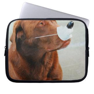 Chocolate Labrador Wearing a Fake Nose Computer Sleeve