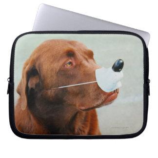 Chocolate Labrador Wearing a Fake Nose Laptop Sleeve