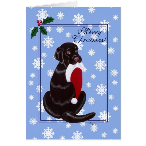 Chocolate Labrador  with Santa Hat Snowflake Card
