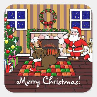 Chocolate Labrador y dibujo animado del navidad de Pegatina Cuadrada