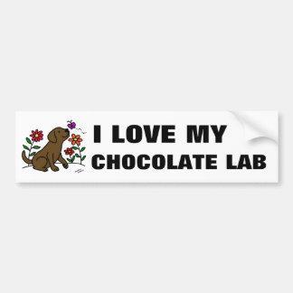 Chocolate Labrador y verde Etiqueta De Parachoque