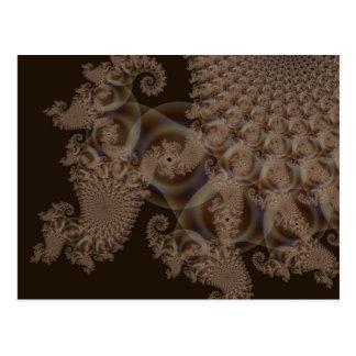 Chocolate lace effect 3D fractal. Postcard