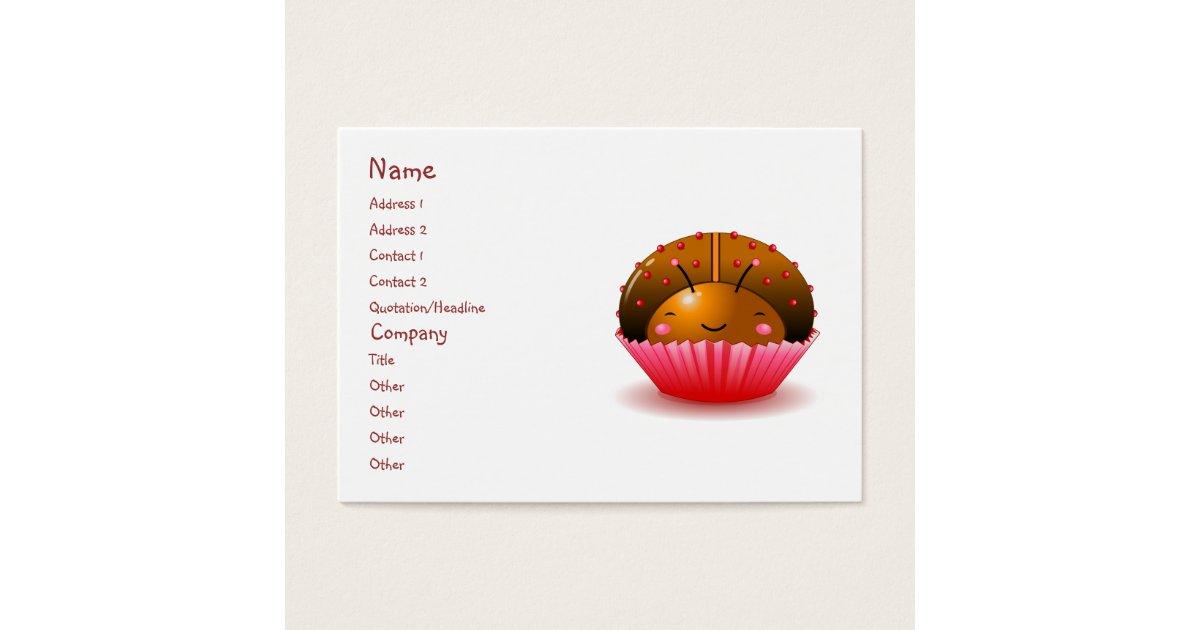 Chocolate Ladybug Cupcake Business Card | Zazzle.com