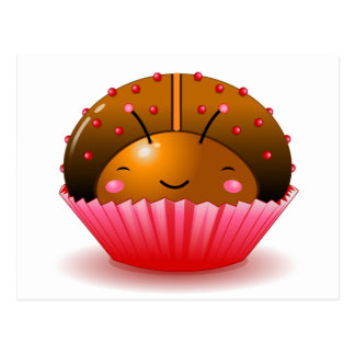 Chocolate Ladybug Cupcake Postcard