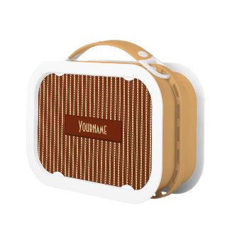 """""""Chocolate Latte"""" Stripes custom lunch boxes"""