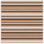 [ Thumbnail: Chocolate, Lavender & Black Pattern of Stripes Fabric ]