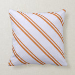 [ Thumbnail: Chocolate & Lavender Lined/Striped Pattern Pillow ]