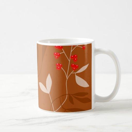 chocolate leaves and red berries classic white coffee mug
