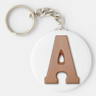 Chocolate letter A Basic Round Button Keychain