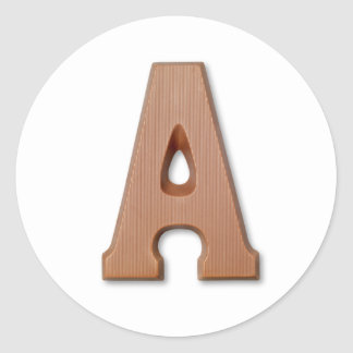 Chocolate letter A Classic Round Sticker