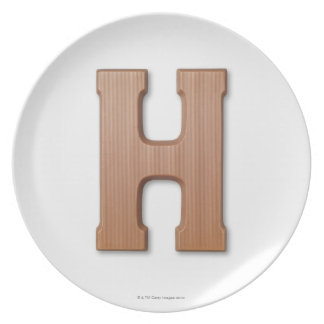 Chocolate letter h melamine plate