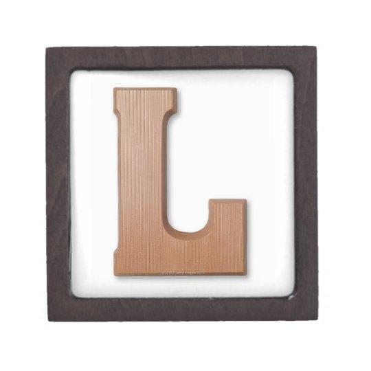 Chocolate letter l keepsake box