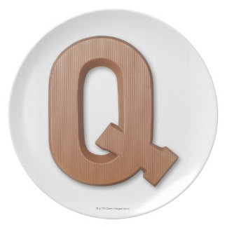 Chocolate letter q dinner plate
