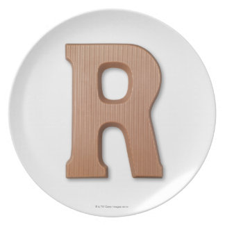 Chocolate letter r dinner plate