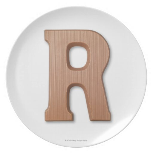 Chocolate letter r plates