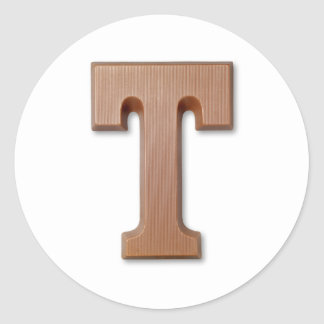 chocolate letter T Classic Round Sticker