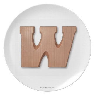 Chocolate letter w melamine plate