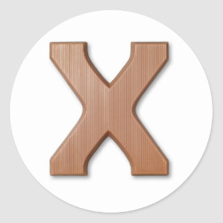Chocolate letter X Classic Round Sticker
