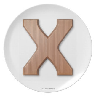 Chocolate letter x melamine plate