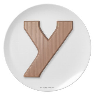Chocolate letter y dinner plate