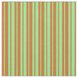 [ Thumbnail: Chocolate & Light Green Colored Lined Pattern Fabric ]