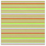 [ Thumbnail: Chocolate, Light Green & Light Gray Lines Fabric ]