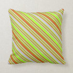 [ Thumbnail: Chocolate, Light Green & Light Gray Lines Pillow ]