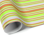 [ Thumbnail: Chocolate, Light Green & Light Gray Lines Wrapping Paper ]