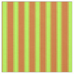 [ Thumbnail: Chocolate & Light Green Pattern of Stripes Fabric ]