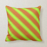 [ Thumbnail: Chocolate & Light Green Pattern of Stripes Pillow ]
