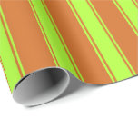 [ Thumbnail: Chocolate & Light Green Pattern of Stripes Wrapping Paper ]