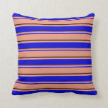 [ Thumbnail: Chocolate, Light Pink, Blue, Dark Salmon & Black Throw Pillow ]