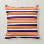 [ Thumbnail: Chocolate, Light Salmon, Black, Indigo, Mint Cream Throw Pillow ]