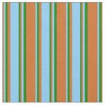 [ Thumbnail: Chocolate, Light Sky Blue, and Green Pattern Fabric ]