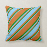 [ Thumbnail: Chocolate, Light Sky Blue, and Green Pattern Throw Pillow ]